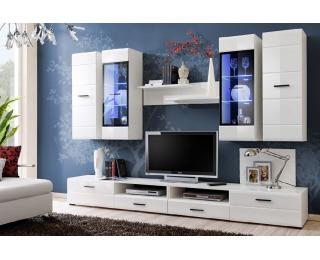 Obývacia stena s osvetlením Lauren - biela / biely lesk