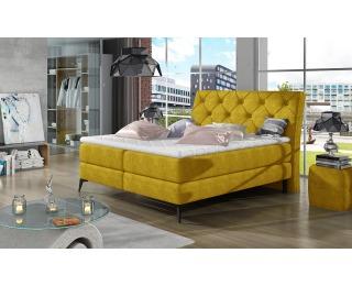 Čalúnená manželská posteľ s úložným priestorom Lazio 140 - žltá