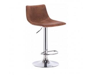 Barová stolička Lenox - hnedá / chróm