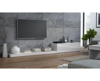 TV stolík Life - biela / biely lesk