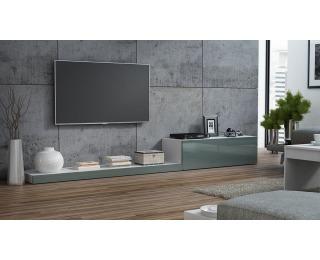 TV stolík Life - biela / sivý lesk