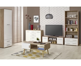 Obývacia izba Lima - dub sonoma / biely lesk