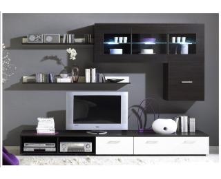 Obývacia stena Logo I - wenge / biely lesk