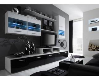Obývacia stena Logo II - biela / biely lesk / čierny lesk