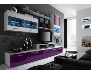 Obývacia stena Logo II - biela / biely lesk / fialový lesk