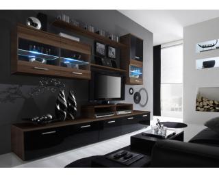 Obývacia stena Logo II - slivka / čierny lesk