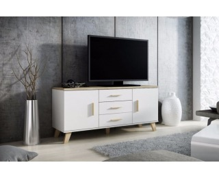Komoda Lotta 150 2D3S - biela / dub sonoma