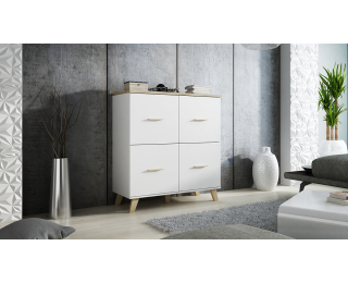 Komoda Lotta 110 4D - biela / dub sonoma