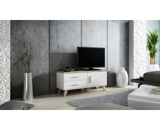 TV stolík Lotta 120 1D2S - biela / dub sonoma