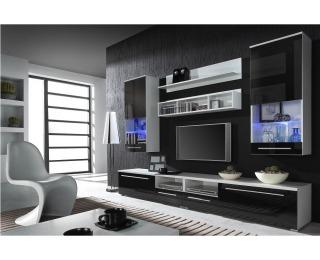 Obývacia stena Luna - biela / čierny lesk