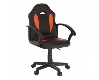 Kancelárske kreslo Madan New - čierna ekokoža / oranžová