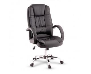 Kancelárske kreslo s podrúčkami Madox - čierna / chróm