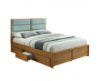 Manželská posteľ s roštom a úložným priestorom Irisun 180 - dub / mentolová