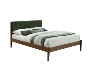 Manželská posteľ s roštom Nolas 160 - orech / tmavozelená