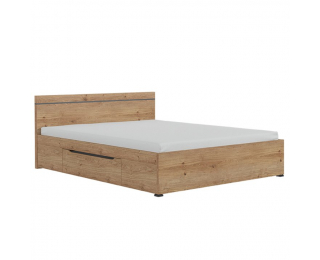 Manželská posteľ s úložným priestorom Utah 160 - dub grandson zlatý / uni sivá