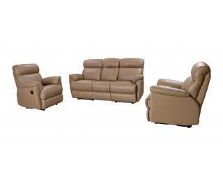 Kožená sedacia súprava s rozkladom Marcodom 05-001 - taupe koža