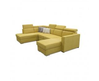 Rohová sedačka U s rozkladom a úložným priestorom Marieta L - žltá / hnedá