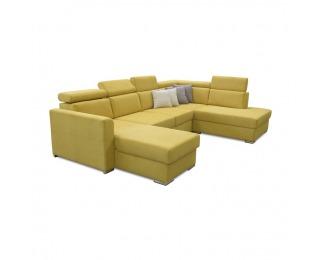 Rohová sedačka U s rozkladom a úložným priestorom Marieta P - žltá / hnedá
