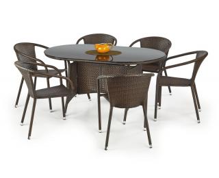 Záhradný stôl Master - tmavohnedá / čierna