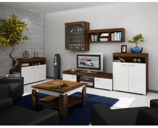 Obývacia izba Max - sonoma tmavá / biely lesk