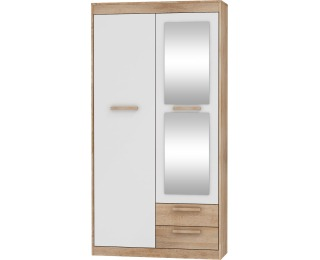Šatníková skriňa so zrkadlom Maximus MXS-04 2D - sonoma svetlá / biely lesk