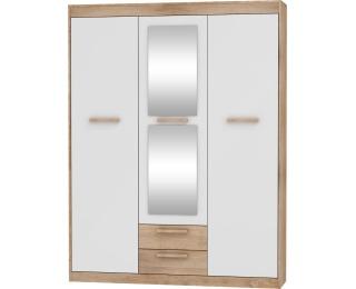 Šatníková skriňa so zrkadlom Maximus MXS-05 3D - sonoma svetlá / biely lesk