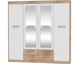 Šatníková skriňa so zrkadlom Maximus MXS-06 4D - sonoma svetlá / biely lesk