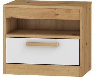 Nočný stolík Maximus MXS-32 - dub artisan / biely lesk