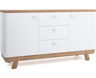 Komoda Aspen AS-K3 - biely vysoký lesk / dub (Grande 01)