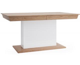 Rozkladací jedálenský stôl Aspen AS-S1 - biely vysoký lesk / dub (Grande 01)