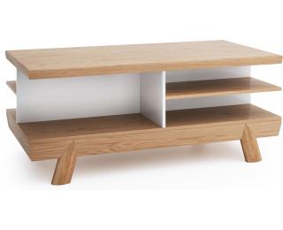 Konferenčný stolík Aspen AS-S3 - biely vysoký lesk / dub (Grande 01)