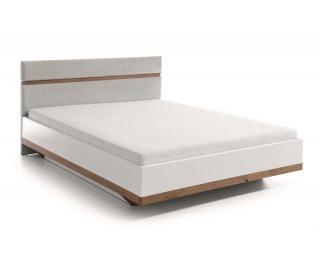 Manželská posteľ Como CM-2 140 - biely vysoký lesk / dub Como / svetlozelená