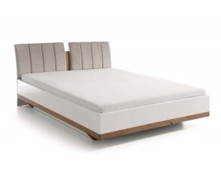 Manželská posteľ Como CM-3 160 - biely vysoký lesk / dub Como / béžovosivá