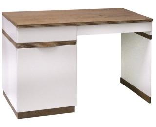 PC stôl Como CM L - biely vysoký lesk / dub Como
