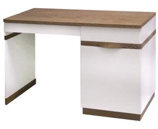 PC stôl Como CM P - biely vysoký lesk / dub Como