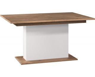 Rozkladací jedálenský stôl Como CM-S1 - biely vysoký lesk / dub Como