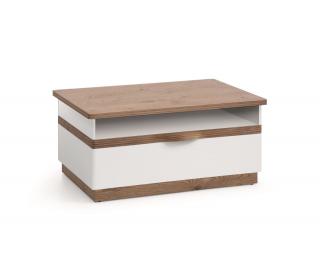 Konferenčný stolík so zásuvkou Como CM-S4 - biely vysoký lesk / dub Como