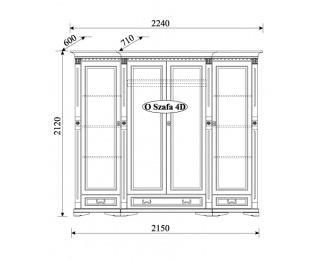 Rustikálna šatníková skriňa so zrkadlom Orfeusz O 4D - toffi