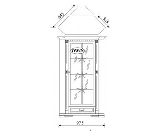 Rustikálna rohová vitrína Orfeusz O-W/N - toffi