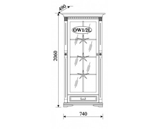 Rustikálna vitrína Orfeusz O-W1/2 L - toffi