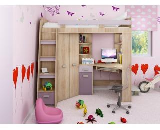 Zostava do detskej izby Antresola L - sonoma svetlá / levanduľa / fialová