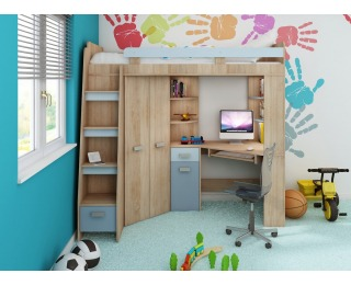 Zostava do detskej izby Antresola L - sonoma svetlá / belasá / modrá
