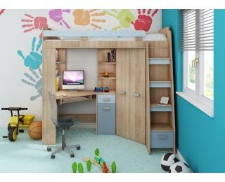 Zostava do detskej izby Antresola P - sonoma svetlá / belasá / modrá