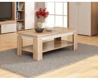 Konferenčný stolík Beta - sonoma svetlá / biely lesk