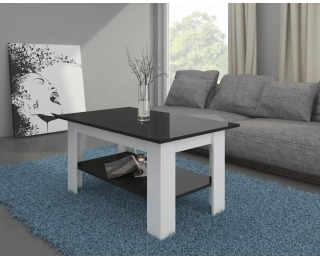 Konferenčný stolík Elaiza - biely mat / čierny vysoký lesk