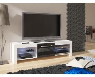 TV stolík Flex - biela / čierny vysoký lesk