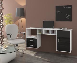 PC stolík na stenu Hanger - biela / čierny lesk