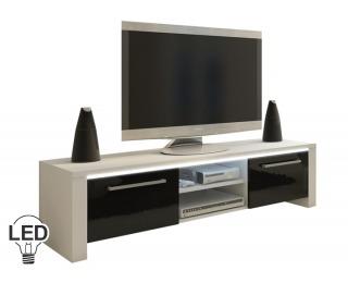 TV stolík Helix - biela / čierny vysoký lesk