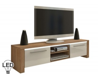 TV stolík Helix - sonoma svetlá / biely vysoký lesk