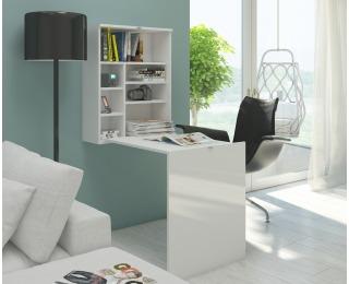 Rozkladací písací stolík s regálom Hide - biela / biely lesk